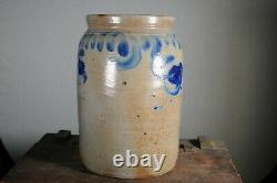 Antique COBALT BLUE DECORATED STONEWARE CROCK / JUG