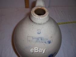 Antique Cobalt Blue Bird Stoneware Jug Folk Art Primitive Country Store Crock NY