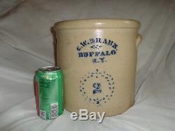 Antique Cobalt Blue C. W. Braun New York Stoneware Pottery 2 Gallon Crock (j1)