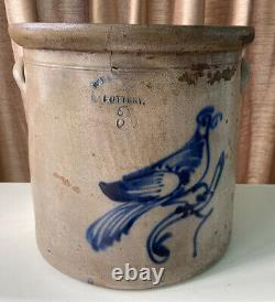 Antique Cobalt Blue Decorated Stoneware Crock / Bird Motif