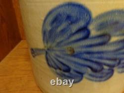 Antique Cobalt Blue Rare Brushed Leaf Pittston, PA Stoneware 4 gallon Crock, j
