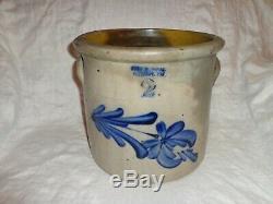 Antique Cobalt Blue Spitting Tulip Evan R. Jones Stoneware 2 gallon Crock (j1)