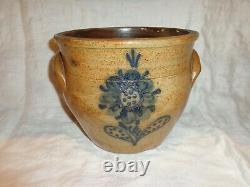 Antique Cobalt Blue Stylized Floral Decorated Stoneware Crock