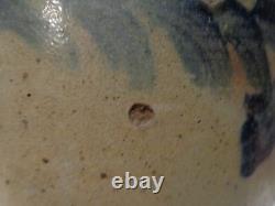 Antique Cobalt Blue Stylized Floral Decorated Stoneware Pottery 2 gal. Crock, j