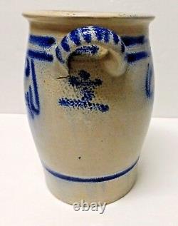 Antique Cobalt Blue Westerwald Stoneware Crock With Lug Handles 9