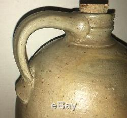 Antique Cobalt Decorated Semi Ovid Jug Crock Salt glaze Stoneware Blue