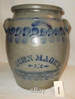 Antique Cobalt Stenciled Stoneware 4 Gal. Jar by J. Weaver