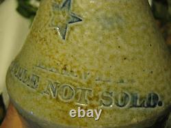 Antique Country Primitive Stoneware Beer Bottle Texas Star USA Crock Jug Art Qt