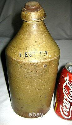Antique Country Primitive W. E. Shaffer Stoneware Beer Bottle USA Crock Jug Art