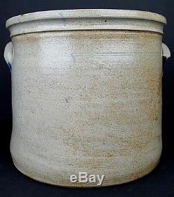 Antique Cowden & Wilcox 3 Gallon Stoneware Butter Crock Heavily Decorated Cobalt