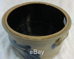 Antique Cowden Wilcox Stoneware Butter Crock Cobalt Blue Flower Neat Small Size