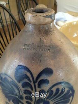 Antique Crock Jug Fenton & Hancock St. Johnsbury Vermont. 3 gallon stoneware