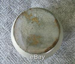 Antique Crock Ovoid Handles Stoneware 2 Gal Cobalt Slip Salt Glaze Primitive