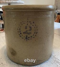 Antique Crock Salt Glaze Stoneware 2 Gallon Wreath Crest