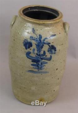 Antique, Decorated, 6 Gal, Stoneware Churn, Ohio, Signed, Lambright, 18 Tall