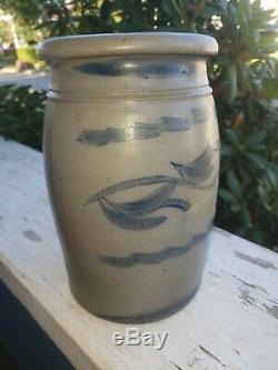 Antique Decorated Stoneware Crock Jar Southwest PA 1 gallon donaghho wv