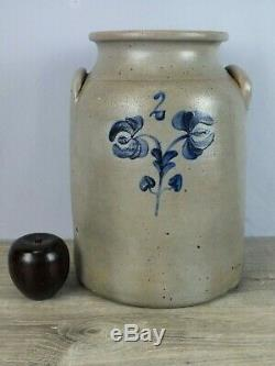 Antique Decorated Stoneware Crock by Van Schoick & Dunn Middletown Point NJ