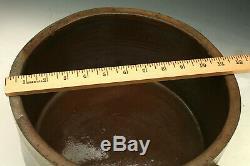 Antique Decorated Stoneware Salt Glaze Cake Crock Crockery