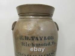 Antique E. B. Taylor Richmond VA 3 Gallon Stoneware Crock