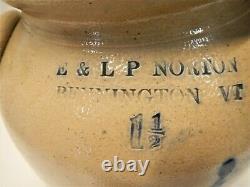 Antique E. & L. P. NORTON Churn, Circa 1861 1881, BENNINGTON, VT, Stoneware