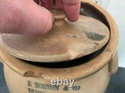 Antique E. NORTON & CO 2 Gal Stoneware Jug Crock With Lid Salt Glaze Blue Cobalt