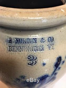 Antique E Norton & Co Bennington Vt Blue Decorated 3 Gal Stoneware Crock Aafa Nr