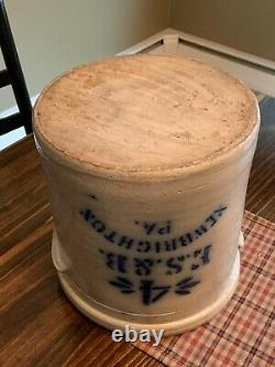 Antique E. S. & B. Salt Glazed Stoneware 4 Gallon Crock New Brighton, PA