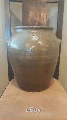 Antique Edgefield Pottery Jug Crock Southern Stoneware Crock RARE shape & size