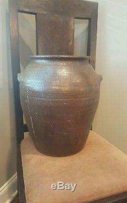 Antique Edgefield Pottery Jug Crock Southern Stoneware Crock RARE shape & size