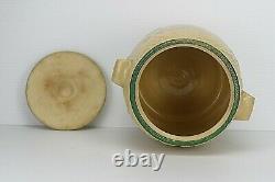 Antique Embossed Yellow Ware Stoneware Lidded Cookie Crock Jar USA 108