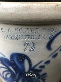Antique FB Norton Stoneware Cobalt Blue 2 Gal Crock Primitive Nice! Leaf Design
