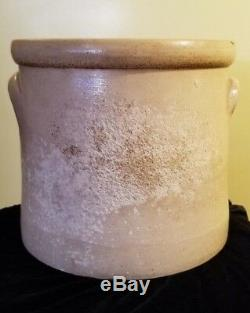 Antique F. B. Norton Sons Worcester Mass Cobalt Leaf Stoneware Crock 1 1/2 Gal