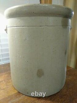 Antique Four Gallon Salt Glaze Stoneware Crock Cobalt Bee Sting Target Has Crack