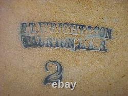 Antique Ft Wright Taunton Mass Blue Decoration 2 Gallon Crock Stoneware Jug