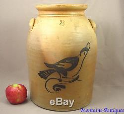 Antique Fulper New Jersey Bird Stoneware Crock c. 1870