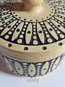 Antique German Art Deco Butter Crock Westerwald Original Salt-Glazed Pottery EUC