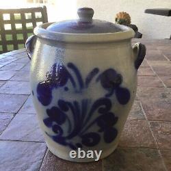 Antique German Salt Glaze Cobalt Blue Delft Rumtopf Crock Stoneware With Lid