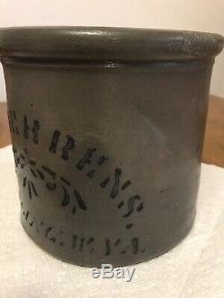 Antique H. F. Behrens Wheeling, WV Salt Glazed Stoneware Butter Crock/Jar, SMA
