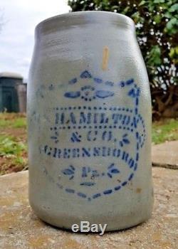 Antique Hamilton & Co. Greensboro Pa. 8 Wax Sealer Canning Jar Stoneware Crock