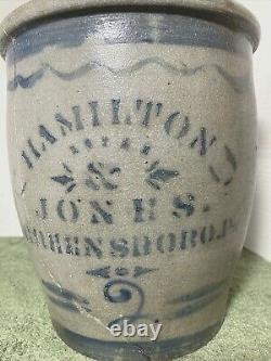 Antique Hamilton & Jones, Greensboro, Pa, #2, Cobalt Gray Stoneware Jar Crock