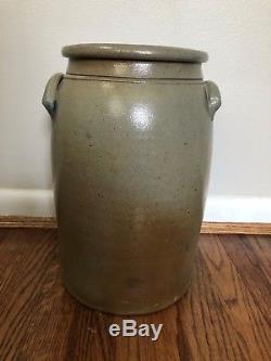 Antique Hamilton & Jones Greensboro Pa 4 Gallon Stoneware Crock Cobalt Decorated