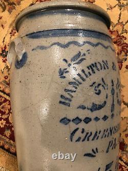 Antique Hamilton and Jones 5 Gallon Stoneware Pottery Crock- Greensboro PA