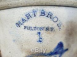 Antique Hart Bros Fulton NY Stoneware Crock Cobalt Blue Decorated Bird Robbin 4g