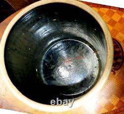 Antique Heavy Stoneware Five Gallon Open Crock Canister