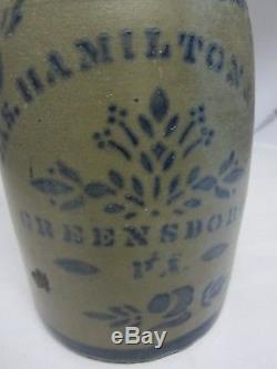 Antique JAMES (Jas.) HAMILTON & CO. Greensboro PA 2 Gallon Stoneware Crock 1800s