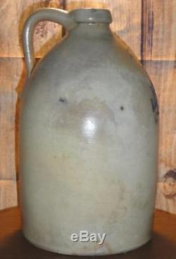 Antique JM Pruden Elizabeth NJ Whiskey Blue Salt Glaze #2 Stoneware Crock Jug