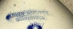 Antique JOHN BURGER ROCHESTER NY STONEWARE JUG WITH HUGE COBALT BLUE DAISY