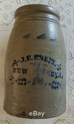 Antique J. E. ENEIX New Geneva Pa Cobalt Stoneware Crock Wax Seal Canning Jar