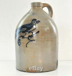 Antique J Norton & Co Bennington Vermont 2-Gallon Stoneware Crock Cobalt Bird