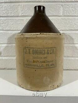 Antique J. T. Doores & Co. Nashville Tennessee Whiskey Jug Stoneware Crock 1 Gal